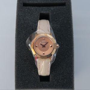 Nixon Mini B Leather Rose Gold Watch